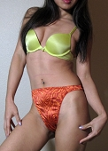 Victoria's Secret Orange Animal Print Satin Used Thong
